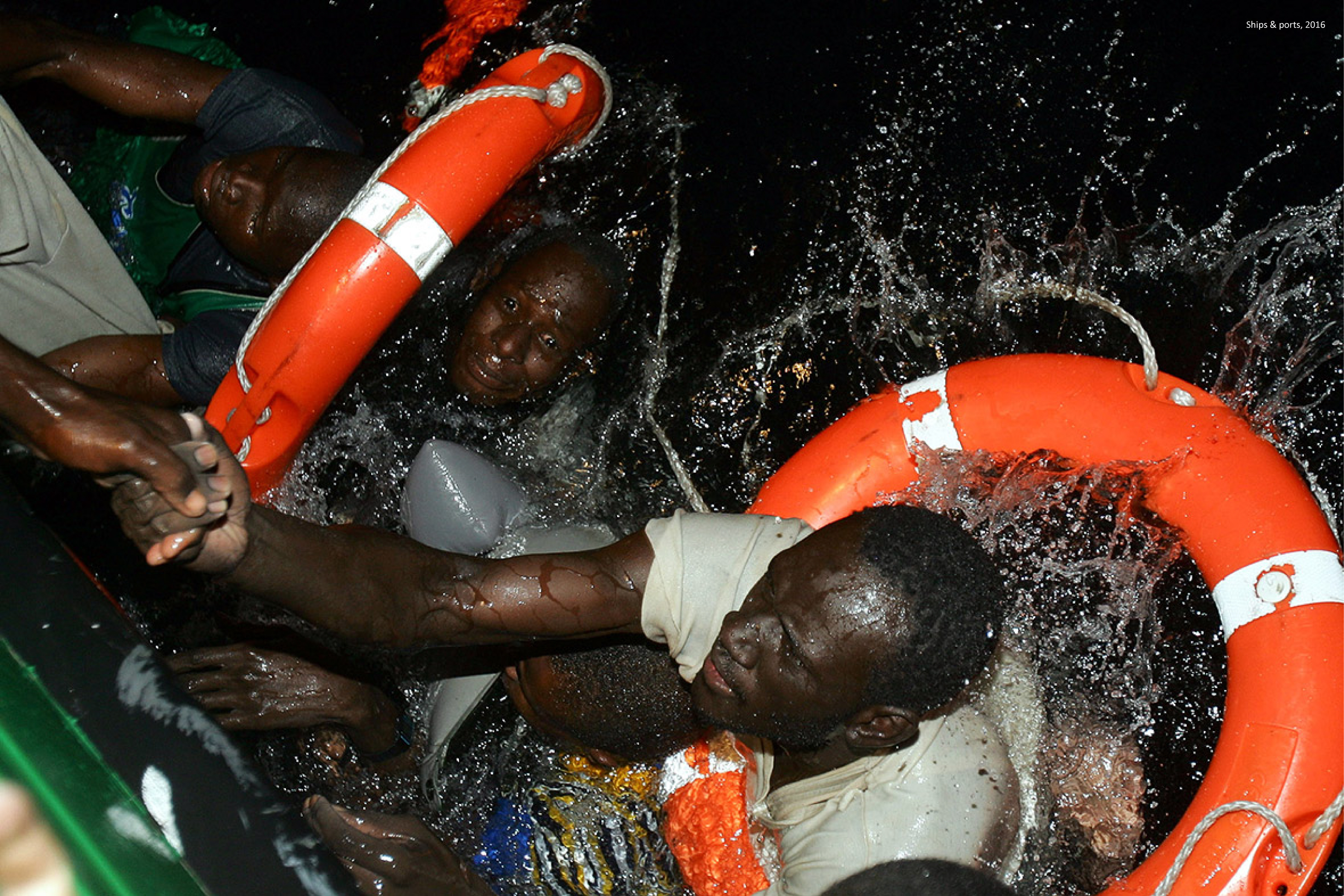 September 2016: Refugees are rescued after their boat, carrying some 600 of them, capsized off the coast of Egypt. 29 died.