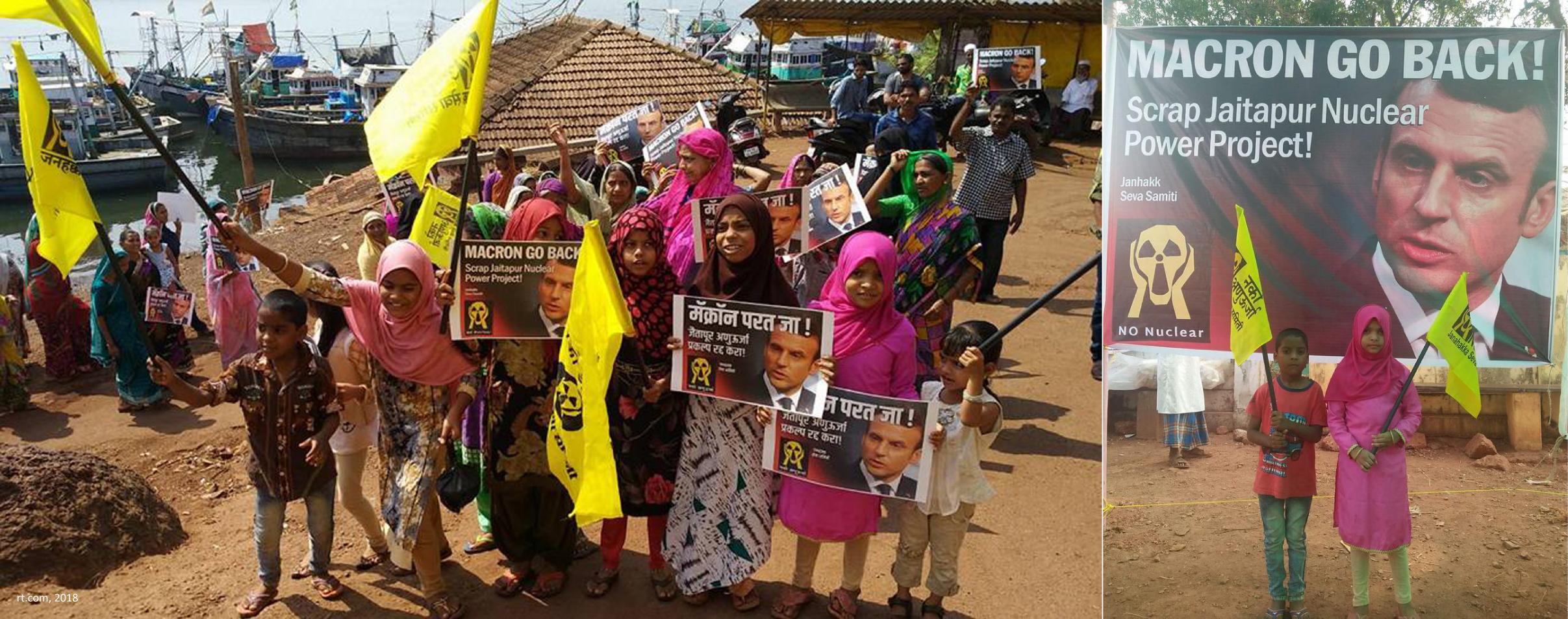 Enfants et adultes indiens opposés au projet local de centrale nucléaire promu par Emmanuel Macron