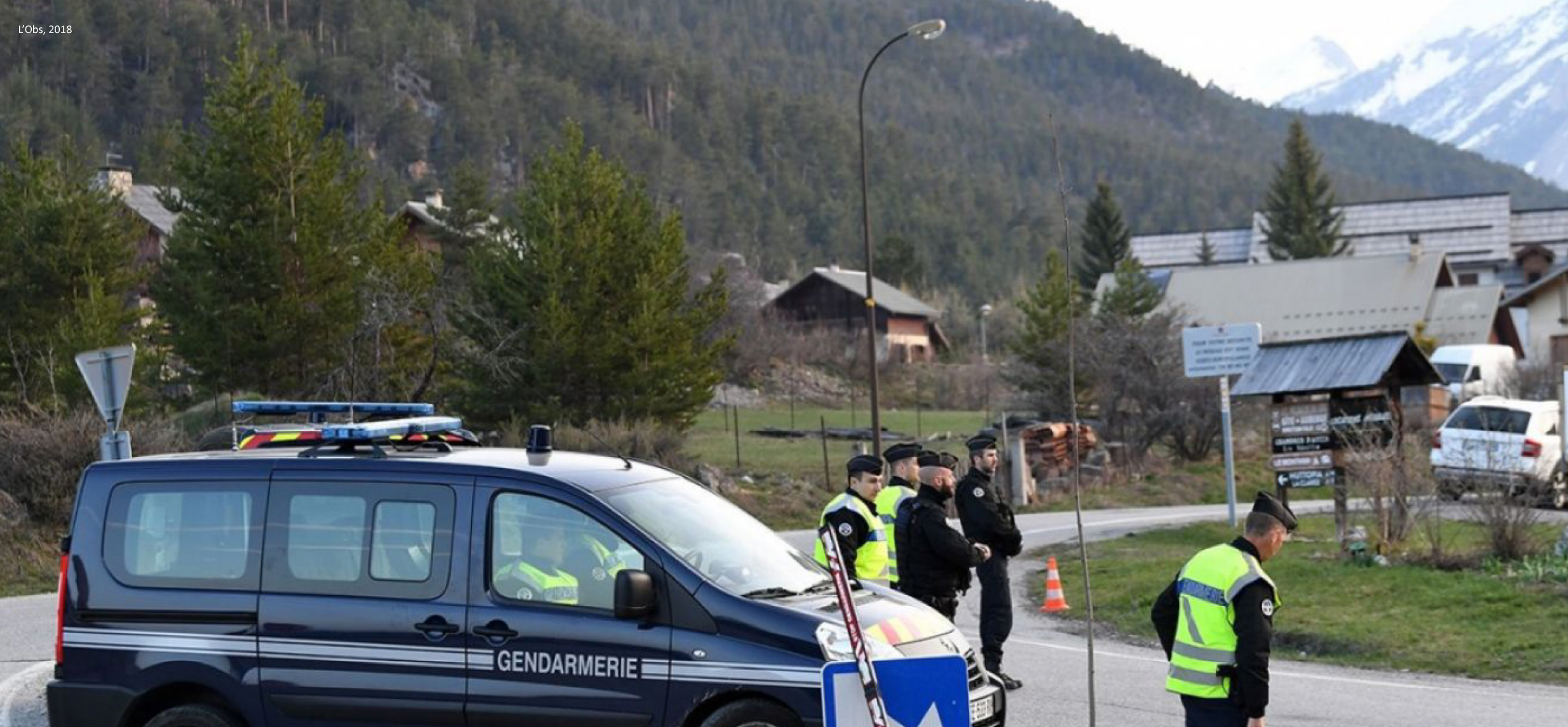 """French law enforcement officers stand watch a few kilometers from the France-Italy border. """"Economic"""" refugees are one of their primary targets."""