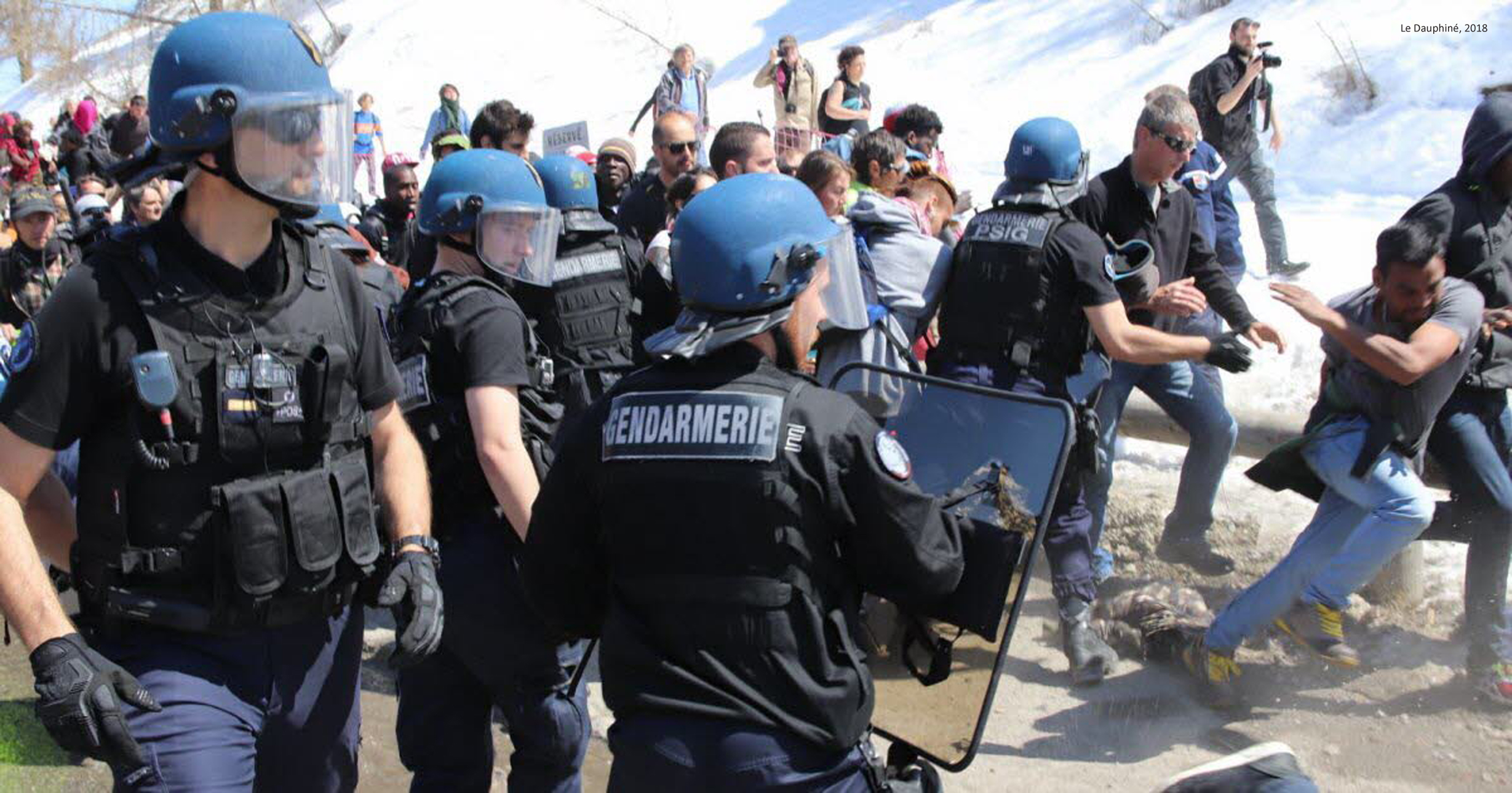 April 2018: Counter-demonstration of the solidarity movement at the France-Italy border and altercation with the French police.